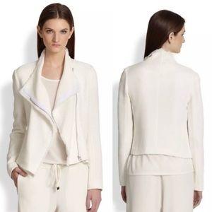VINCE White Tweed/Woven Fringe Moto Jacket